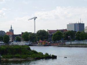 Widok na miejsce, w którym do 1945 r. stała w Gdańsku Szkoła Nawigacyjna.