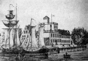 """Rycina, przedstawiająca budynek szkoły i szkolne żaglowce - jednym z nich jest prawdopodobnie """"Stralsund""""."""