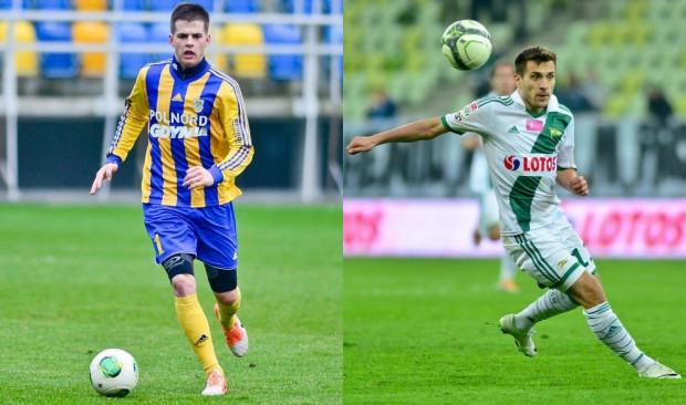 W trzecim notowaniu Jedenastki Kolejki znaleźli się wyłącznie piłkarze Lechii Gdańsk i Arki Gdynia. Na zdjęciu Maciej Makuszewski (z prawej) i Mateusz Cichocki.