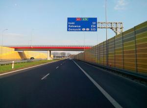 Odcinek autostrady A1 w rejonie Kutna.