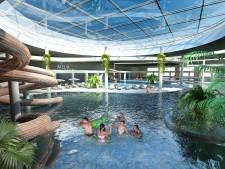 W ramach projektu powstanie kilka basenów oraz także centrum fitness, spa oraz tor bowlingowy.