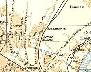 Opisywana dzielnica na mapie Gdańska z lat 30.