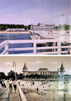 Porównanie proponowanej zabudowy i starej Hali Plażowej - widok od strony nieistniejącego molo, którego odbudowy obecnie nie planuje się i stanowi jedynie element wizualizacji.