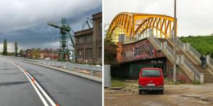 Porównanie dróg dotarcia do Bramy Oliwskiej - po lewej ul. Nowa Wałowa bez chodników, po prawej tzw. żółty wiadukt.