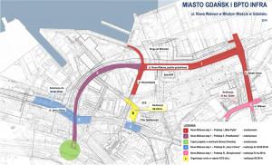 """Do czasu udrożnienia przejazdu przez """"starą"""" ul. Wałową, ul. Nowa Wałowa będzie praktycznie pełnić funkcję drogi wewnętrznej terenów postoczniowych."""
