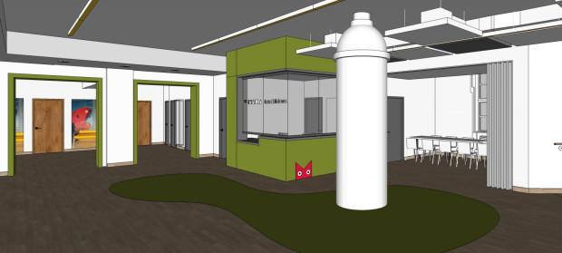 Wizualizacja foyer Teatru Miniatura po remoncie. Widok na wnętrze z perspektywy wejścia do teatru.