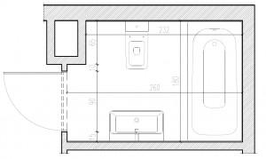 Aranżacja łazienki proponowana przez dewelopera.