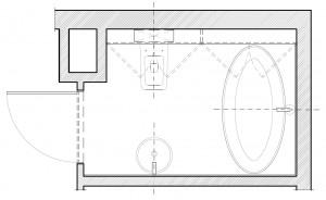 Koncepcja druga. Niezabudowana wanna w miejscu, w którym proponowana była przez dewelopera.