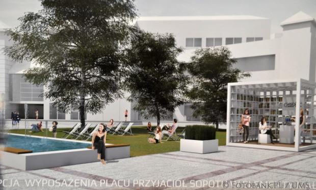 Wizualizacja pokazująca przyszły wygląd Placu Przyjaciół Sopotu - po lewej widać fragment fontanny.