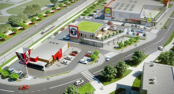 Wizualizacja centrum handlowego przy ul. Witosa.