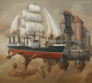 Wśród 29 prac Jarosława Jaśnikowskiego jest jedna związana bezpośrednio z Narodowym Muzeum Morskim, gdzie prezentowane są prace artysty - przedstawia statek-muzeum Sołdek oraz gdański Żuraw.