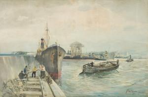 """Wśród imponującej kolekcji prac Mariana Mokwy znalazło się wiele poświęconych Trójmiastu. Jedną z nich jest """"Port gdyński"""" (na zdjęciu)."""