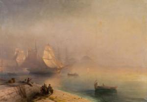 """Ponad 40 prac Iwana Ajwazowskiego podziwiać można w Państwowej Galerii Sztuki w Sopocie. Znalazły się tu wykonane w różnych technikach działa marynistyczne. Jednym z nich jest obraz """"Zatoki Neapolitańskiej (na zdjęciu)."""