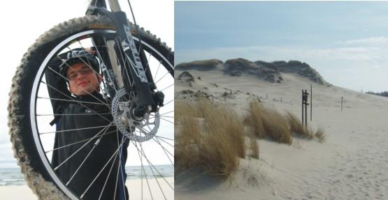 Z rowerami na plecach przez ruchome piaski