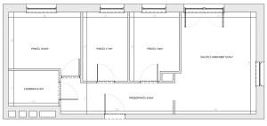 Wymiary mieszkania, układ proponowany przez dewelopera.