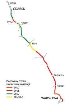 Mapa z terminami modernizacji całej trasy Gdynia - Warszawa.