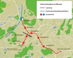 Planowane linie tramwajowe i przystanki na Morenie i Siedlcach.