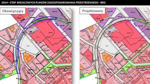 Projekty planów zagospodarowania dla PKM-ki w niektórych miejscach naruszają dotychczasowe plany dla ul. Nowej Abrahama (po lewej stronie oznaczone zostało to niebieskim kolorem).
