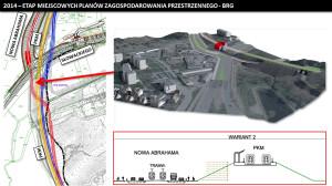 Wariant z przekroczeniem torów kolejowych w obrębie przystanku PKM Niedźwiednik, a następnie prowadzenie ich między jezdniami ul. Nowej Abrahama (na mapie po lewej wariant czerwony)