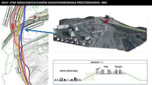 W obrębie przystanku PKM Niedźwiednik rozważa się budowę torów tramwajowych po zachodniej stronie lub po wschodniej między jezdniami ul. Nowej Abrahama z wcześniejszym pokonaniem bezkolizyjnie torów PKM. Na wizualizacji przedstawiono wariant po zachodniej stronie.