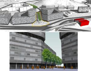 Głównym zamierzeniem urbanistycznym jest wytworzenie przestrzeni publicznej w formie placu, łączącego przystanek PKM z ul. Podkarpacką.