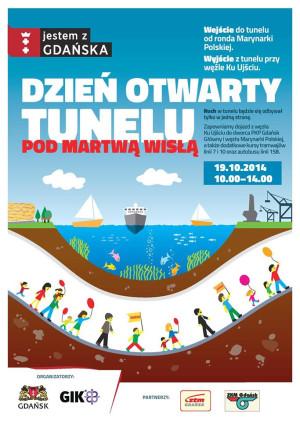 Plakat promujący imprezę na budowie tunelu pod Martwą Wisłą.