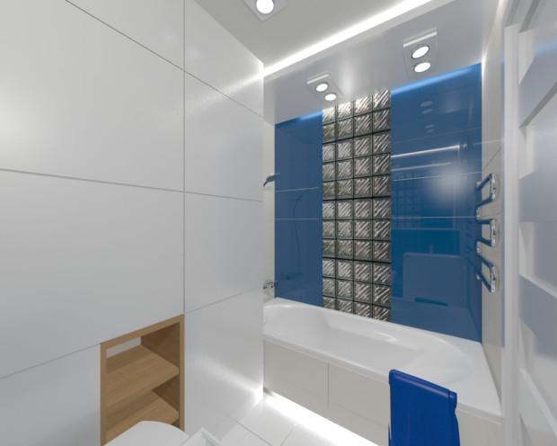 Koncepcja druga. Szklane pustaki jako część ściany wyglądają sprawiają, że łazienka staje się niebanalna. Dodatkowo zmieniają się nieco proporcje pomieszczenia.