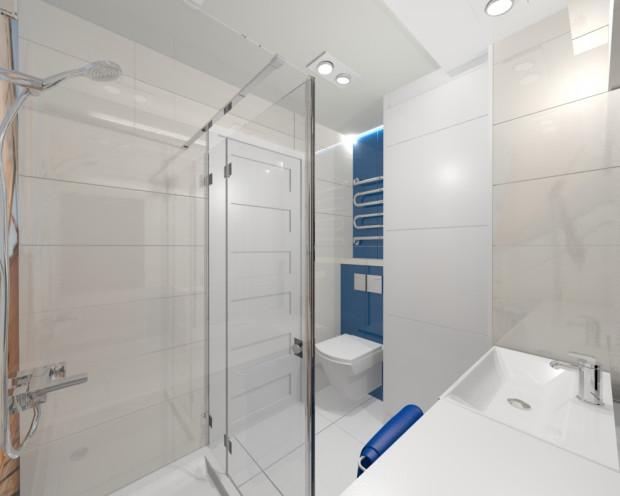 Toaleta została maksymalnie odsunięta od pionu instalacyjnego. Dzięki temu jest ona schowana na drzwiami wejściowymi do pomieszczenia.