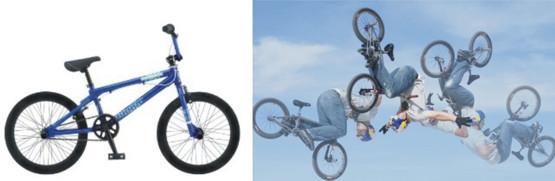 Rower typu bmx;  ewolucje podczas zawodów bmx