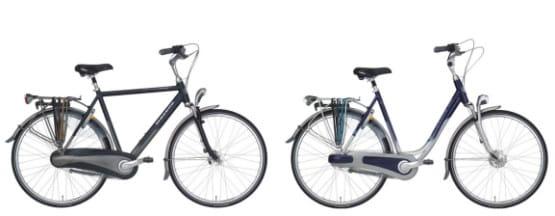 Rower miejski: rama męska (z lewej) oraz rama damska (z prawej)