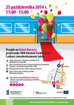 Plakat promujący dzień otwarty przystanku SKM Gdańsk Śródmieście.