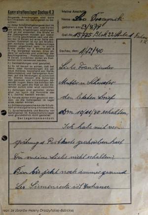 Pierwsza strona listu, który Leon Droszyński wysłał do rodziny z obozu koncentracyjnego Dachau.