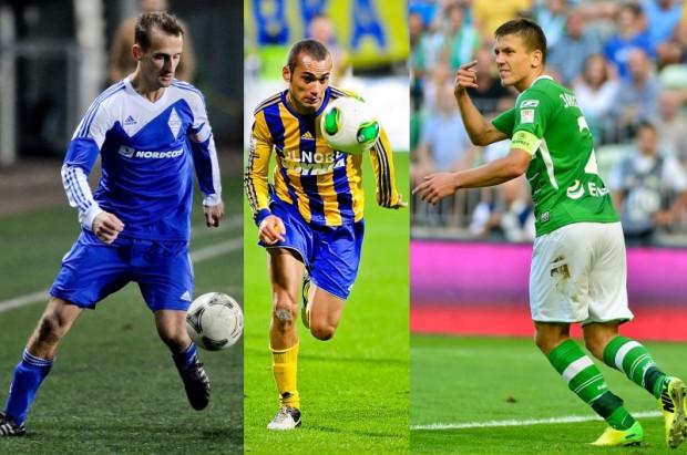 W minionej kolejce Krzysztof Rusinek (z lewej) i Marcus (w środku) strzelali gole dla trójmiejskich drużyn. Rafałowi Janickiemu (z prawej) porażkę Lechii osłodziło powołanie do reprezentacji Polski.