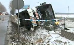 Tak wyglądał autokar po wypadku.