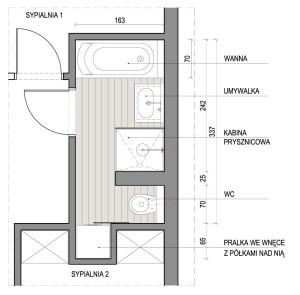 Koncepcja pierwsza. Powiększona łazienka podzielona na dwie strefy - kąpielową i toaletową.