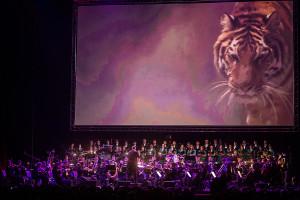 Na rozwieszonym nad sceną ekranie prezentowano fragmenty filmów, korespondujące z wykonywaną muzyką.