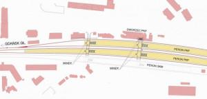 Docelowy układ peronów i torowiska na stacji Gdańsk Wrzeszcz.