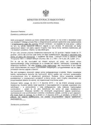 Przeczytaj list wysłany przez minister edukacji narodowej do dyrektorów szkół publicznych.