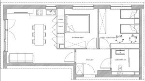 Koncepcja druga. Zlewozmywak i płyta kuchenna znajdują się pod oknem. Stół jest głównym elementem pomieszczenia.
