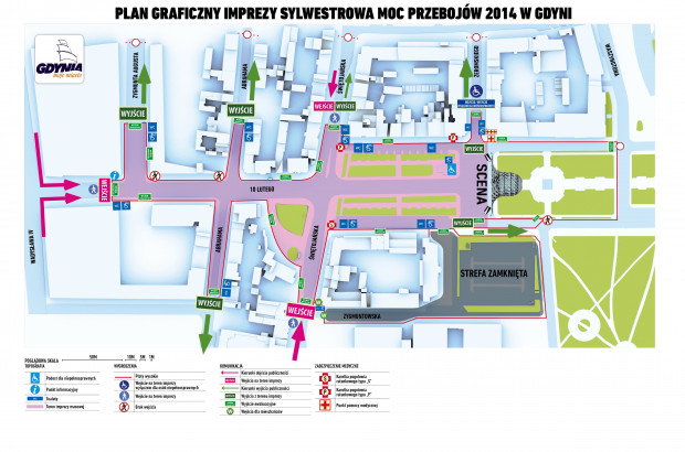 Plan imprezy sylwestrowej w Gdyni.
