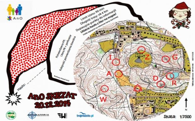Przykład jednej z map stosowanych na Alternatywnych Imprezach na Orientację
