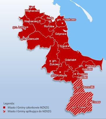 Obszar obowiązywania biletów aglomeracyjnych MZKZG.
