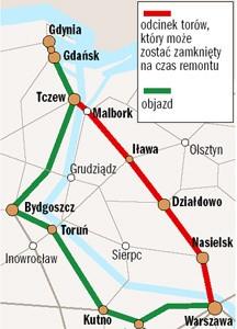 Wielki, kolejowy objazd do Warszawy (info.: Igor Nowaczyk).