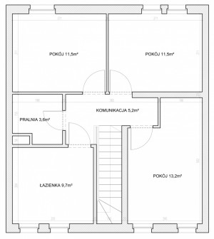 Rozkład i wymiary pomieszczeń na pierwszym piętrze.