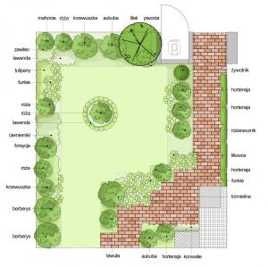 Stan aktualny. Przestrzeń przed wejściem do domu jest obsadzona krzewami i bylinami. Centralną część wypełnia trawa.