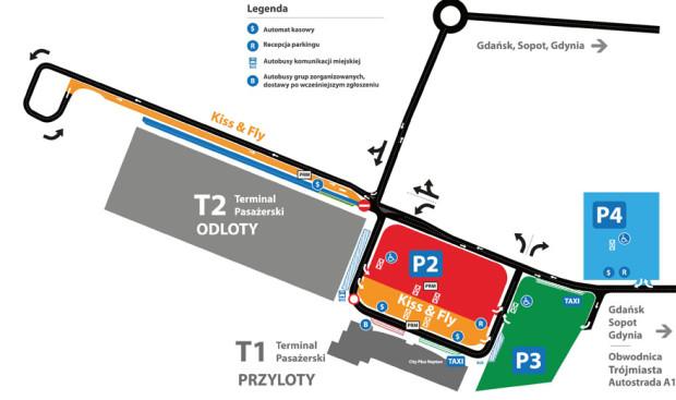 Aktualna organizacja ruchu i parkingi na lotnisku.
