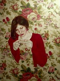 Namalować obraz na wzorzystej tkaninie. Dyplom Anny Markowiak.