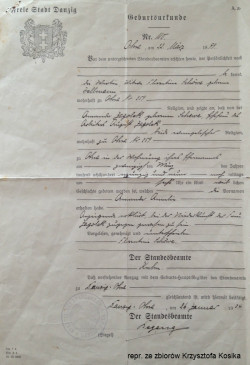 Akt urodzenia wydany w oruńskim ratuszu w 1934 r.