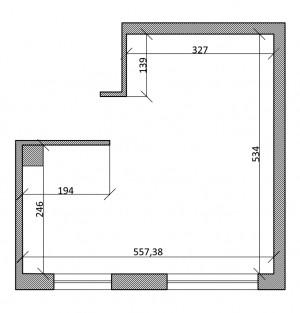 Wymiary projektowanego pomieszczenia.