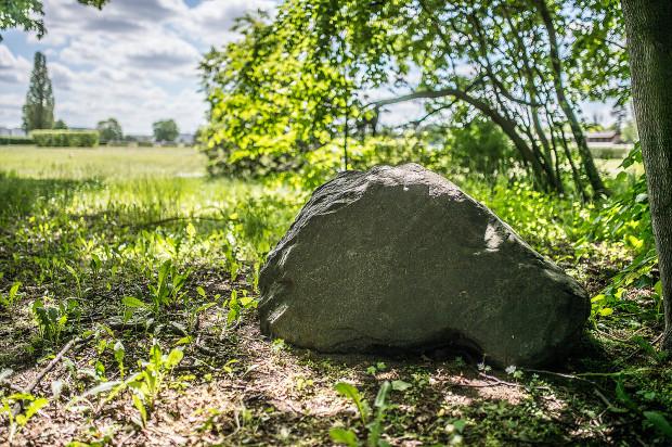 """Kamień na cześć Gustawa von Puttkamera, który zginął podczas zawodów na hipodromie w 1903 r. Na głazie wyryto datę wydarzenia i napis w języku niemieckim: """"Tutaj przestało bić serce jeźdźca Gustawa von Puttkamera"""". Przy dużym powiększeniu widać jeszcze fragmentu napisu."""